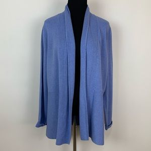 NWT Talbots Large sky blue cotton open cardigan